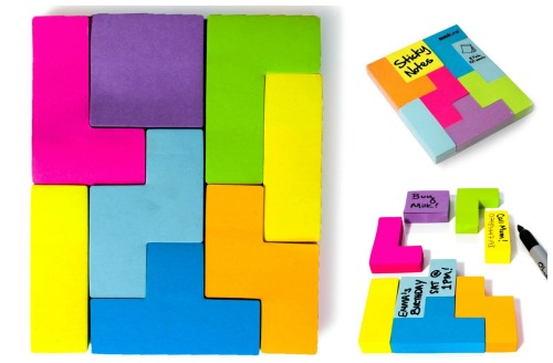 Tetris Style Block Sticky Notes via Amazon